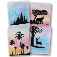 Easy Way Water Color Craft Kit: Nature Silhouettes (Pack of 24)