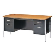 Double Pedestal Desk Black With Oak Top