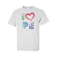 I Love PE T-Shirt, Ash Grey