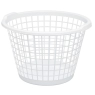 White Round Plastic One-Bushel Capacity Laundry Basket