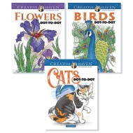 Creative Haven® Birds, Cats & Flowers Dot-to-Dot Coloring Books (Set of 3)