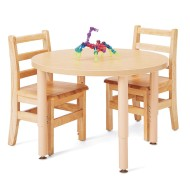 "Jonti-Craft® Purpose+™ Round Table and Ladder Back Chair Set, 30"" (Set of 3)"