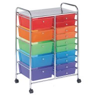 Mobile 15-Drawer Storage Cart