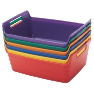 ECR4Kids Small Bendi-Bin with Handles Pack, Assorted Colors (Set of 6)