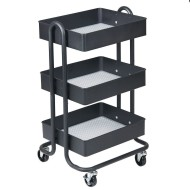 ECR4Kids 3-Tier Rolling Utility Cart with 3 Tub Shelves,