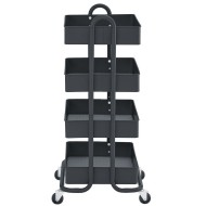 ECR4Kids 4-Tier Rolling Utility Cart with 4 Tub Shelves,