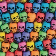 Assorted Color Skull Beads, 1/4-lb Bag