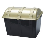 Plastic Treasure Chest with Lid, Gold/Black