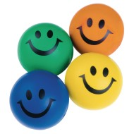Smiley Face Squeeze Balls, Assorted Colors (Pack of 24)