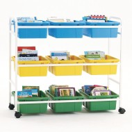 Copernicus Book Browser Cart with 6 Divided Tubs