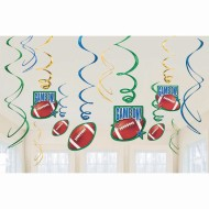 Football Swirl Decorations Value Pack (Pack of 12)