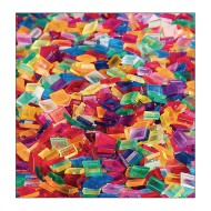 Clear Multicolored Square Plastic Tile