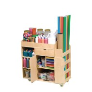 Wooden Activity and Art Supply Cart with 13 Storage Sections