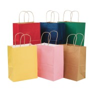Kraft Colored Gift Bags Cub Sizes (Pack of 12)
