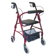 HealthSmart Lightweight Aluminum Rollator with Adjustable Seat
