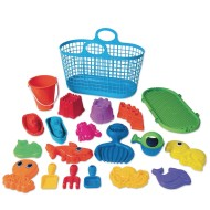 American Plastic Toy® Sand and Water Toy Assortment in Stacking Storage Basket (Set of 20)