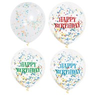 "12"" Happy Birthday Latex Bright Multicolored Confetti Balloons (Pack of 72)"