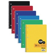 3-Subject Wide Ruled Spiral Notebooks Value Pack