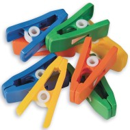 Plastic Peg Clips, Assorted Colors (Pack of 24)