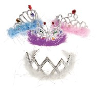 Feather Boa Princess Tiara (Pack of 12)