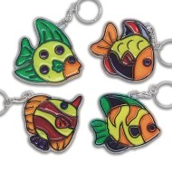 Fish Sun Catcher Keychains Craft Kit (Pack of 12)