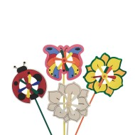 Butterfly, Flower and Ladybug Pinwheels Craft Kit (Pack of 12)