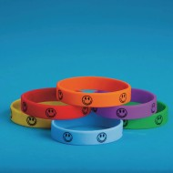 Smiley Face Silicone Bracelets (Pack of 24)