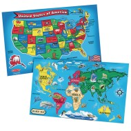 Floor Puzzle Set World and USA Maps