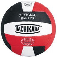 Tachikara® SV-18S Volleyball, Black/White/Scarlet