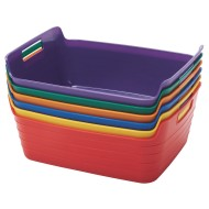 ECR4Kids Medium Bendi-Bin with Handles Pack, Assorted Colors (Set of 6)
