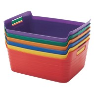 ECR4Kids Large Bendi-Bin with Handles Pack, Assorted Colors (Set of 6)