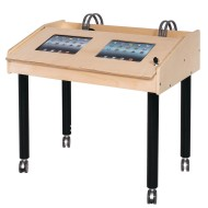 Double Wide 2-Station Technology Table With Adjustable Legs