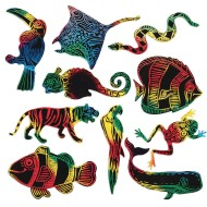 Scratch-Art® Rainforest and Sea Life Shapes (Pack of 50)
