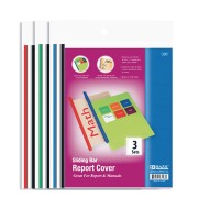 Clear Front Report Covers With Sliding Bar (Pack of 3)