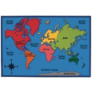 World Map Value Rug, 6' x 9'