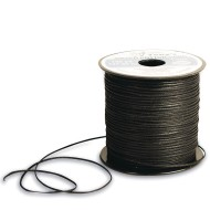 Black Waxed Cotton Cord, 1mm thick x 150 yards