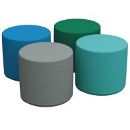 "Softzone® 18"" Round Contemporary Colors Ottoman Set (Set of 4)"