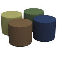 "Softzone® 18"" Round Earth-Tone Colors Ottoman Set (Set of 4)"