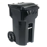 Otto 65-Gallon Mobile Trash Container, Black