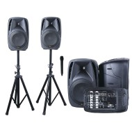 All-In-One 8-Channel Dual DJ Mixer PA System with Microphone