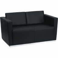 Contemporary Leather Loveseat, Black
