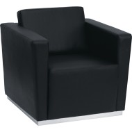 Contemporary Leather Chair, Black