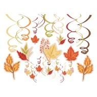 Fall Foliage 30-Piece Swirl Hanging Decorations Mega Value Pack (Pack of 30)