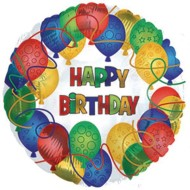 Happy Birthday Pattern Mylar Balloons (Pack of 10)
