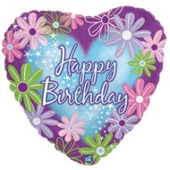 Happy Birthday Twinkle Heart Mylar Balloons (Pack of 10)