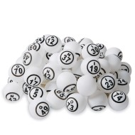 Ping Pong Style Replacement Bingo Balls, White (Set of 75)