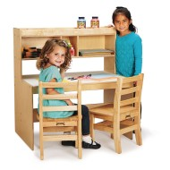Jonti-Craft® Baltic Birch Store-More Adjustable Height Activity Table with Shelving