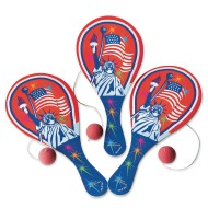 Patriotic Paddle Ball Game (Pack of 12)