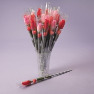 Individually Wrapped Stem Roses with Hearts (Pack of 24)