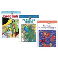 Creative Haven® Coloring Books: Butterflies, Birds, Peacocks (Set of 3)